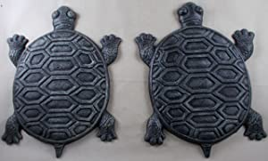Set of 2 Iron Verdigris Garden Turtle Stepping Stone