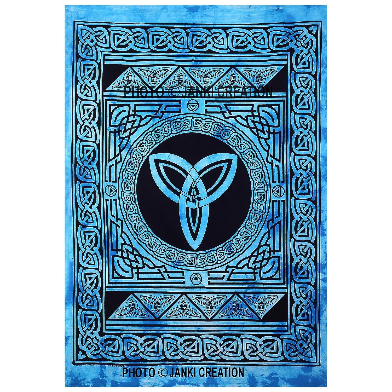 Póster indio hecho a mano, tamaño 30 x 40, diseño de hippie para colgar en la pared, tapiz de algodón indio, mandala de pared, estilo indio, tradicional algodón estampado bohemio hippie grande pared, tapiz mandala, queen, Janki Creation