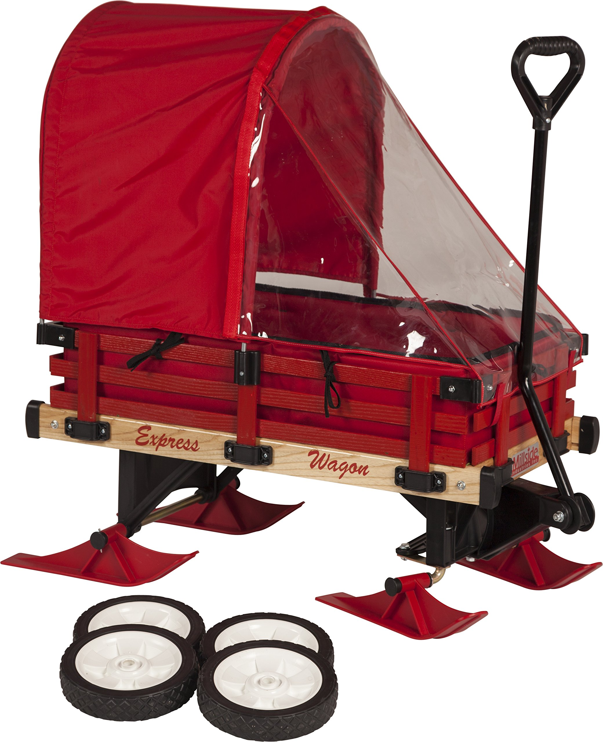 Millside Industries Sleigh Wagon with Red Wooden Racks by Millside Industries