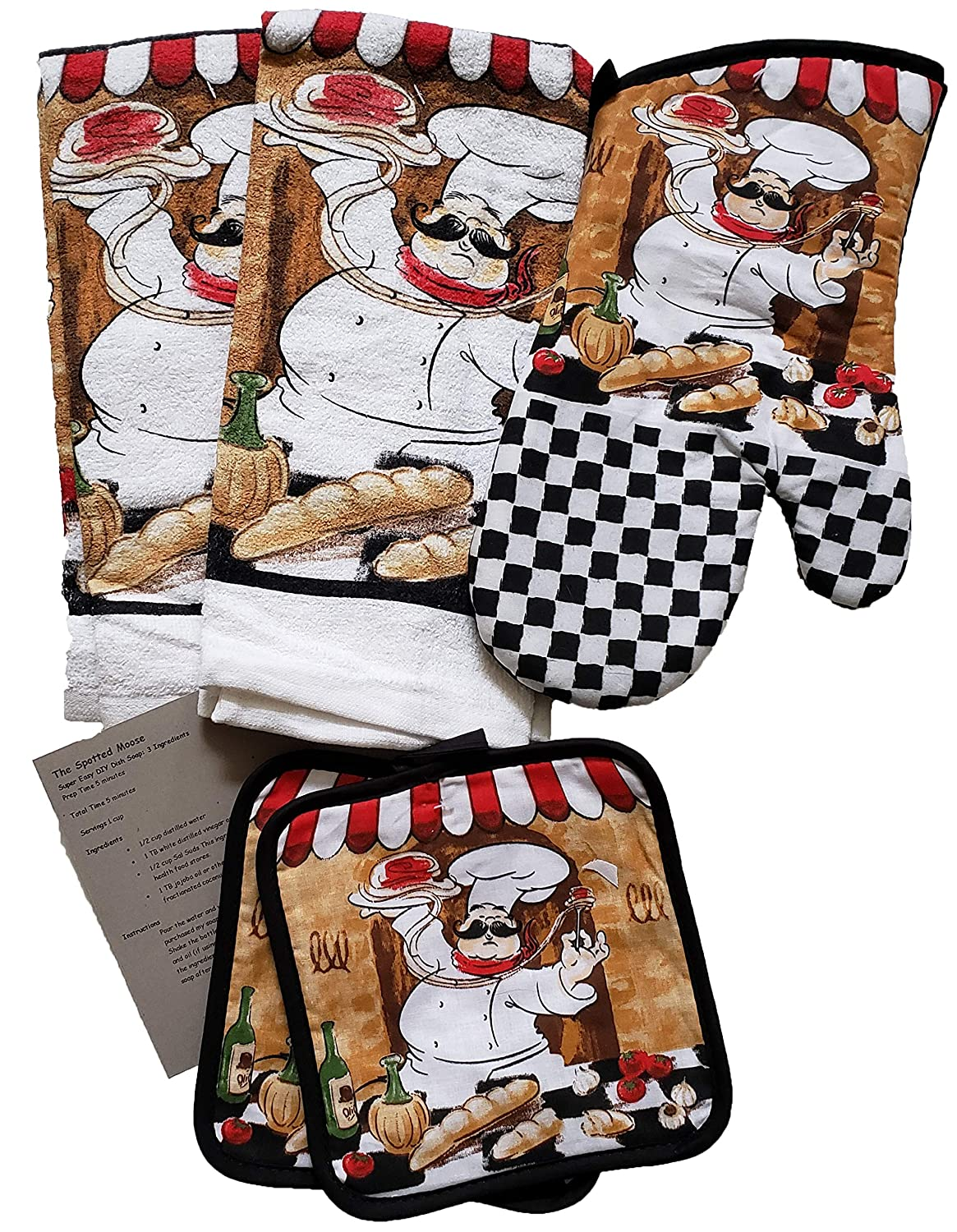 The Spotted Moose Colorful Chef Themed 5 Piece Kitchen Linen Bundle with 2 Dish Towels, 2 Potholders, and 1 Oven Mitt (Chef)