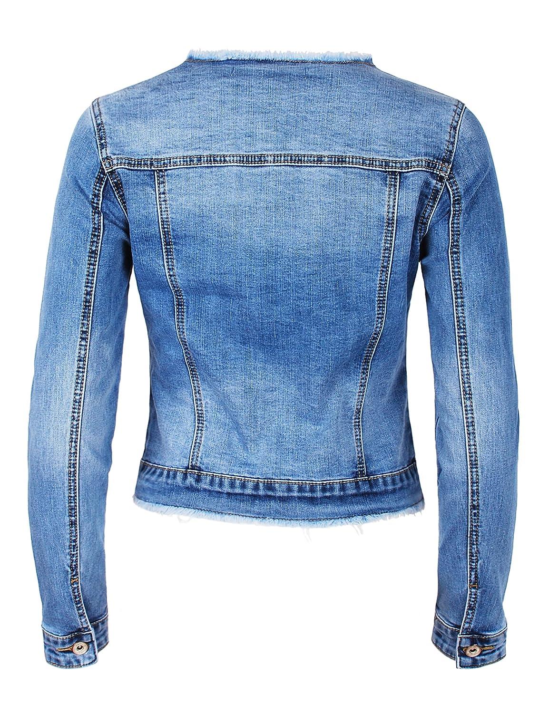 Fraternel Damen Jeansjacke ausgefranst Vintage Stretch