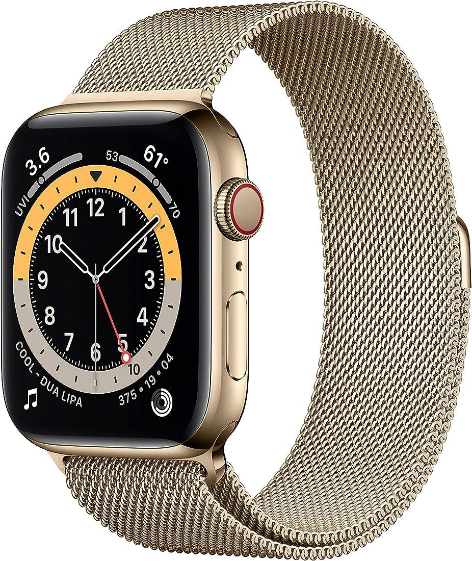 Apple watch series 6 (gps + cellular, 40 mm) cassa in acciaio inossidabile color oro