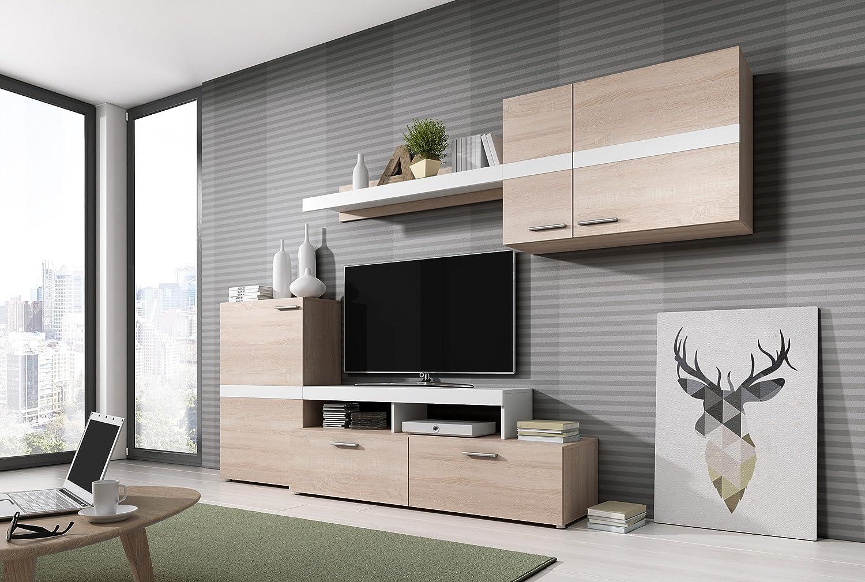 Homely Mueble de salón modular MARCOS color roble sonoma y blanco de 260 cm