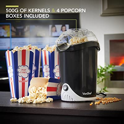 VonShef Fat-Free Hot Air Popcorn Maker