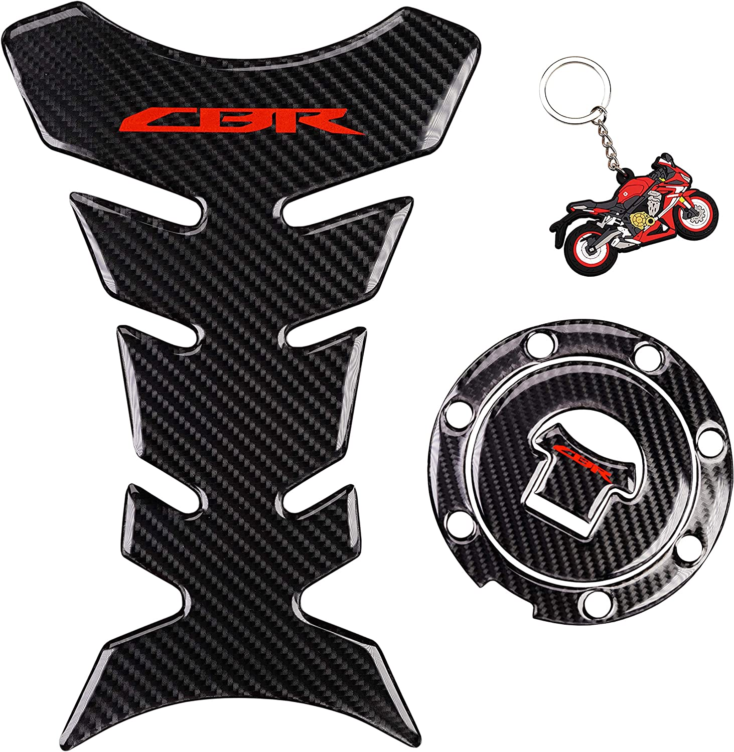REVSOSTAR Real Carbon Look, Fuel Gas Tank Cap, Protector Pad, Tank Pad Decal Stickers, Tank Protector with Keychain for CBR600RR 2003-2015 CBR1000RR 2004-2015, 3PCS Per Set (RED)