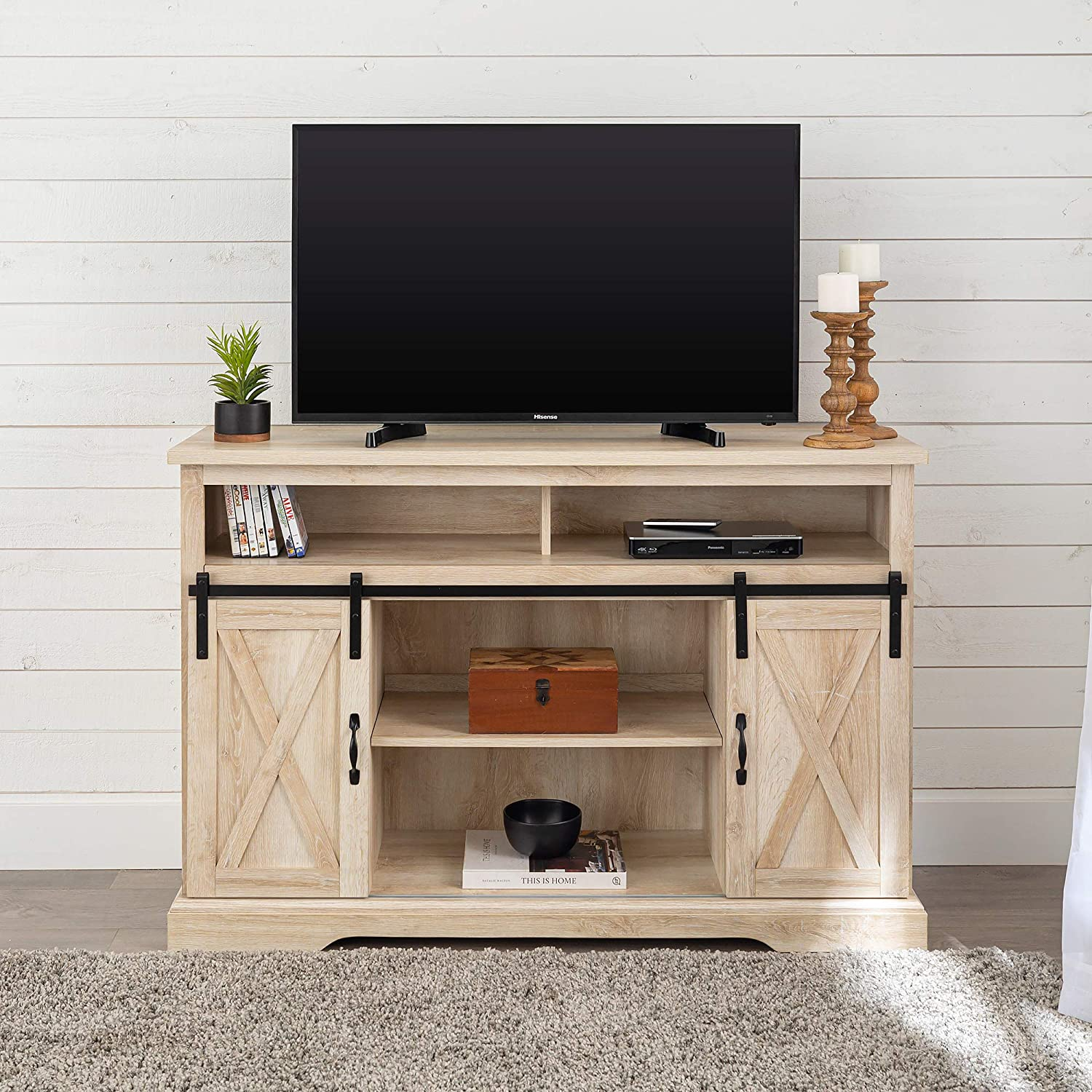 WE Furniture TV Stand, 52 , White Oak