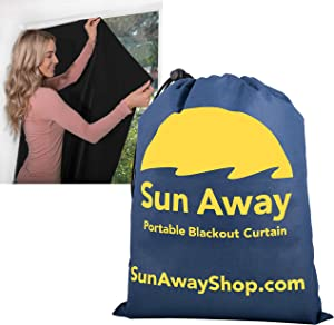 """SUN AWAY Portable Blackout Window Curtain with Suction Cups - Easy Install Shade No Tools Required - Temporary Blinds, Perfect for Baby Nursery or Dorm Room - with Travel Bag (51"""" Wide x 66"""" Long)"""