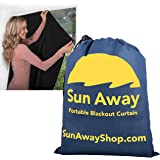 SUN AWAY Portable Blackout Window Curtain with Suction Cups - Easy Install Shade No Tools Required - Temporary Blinds…
