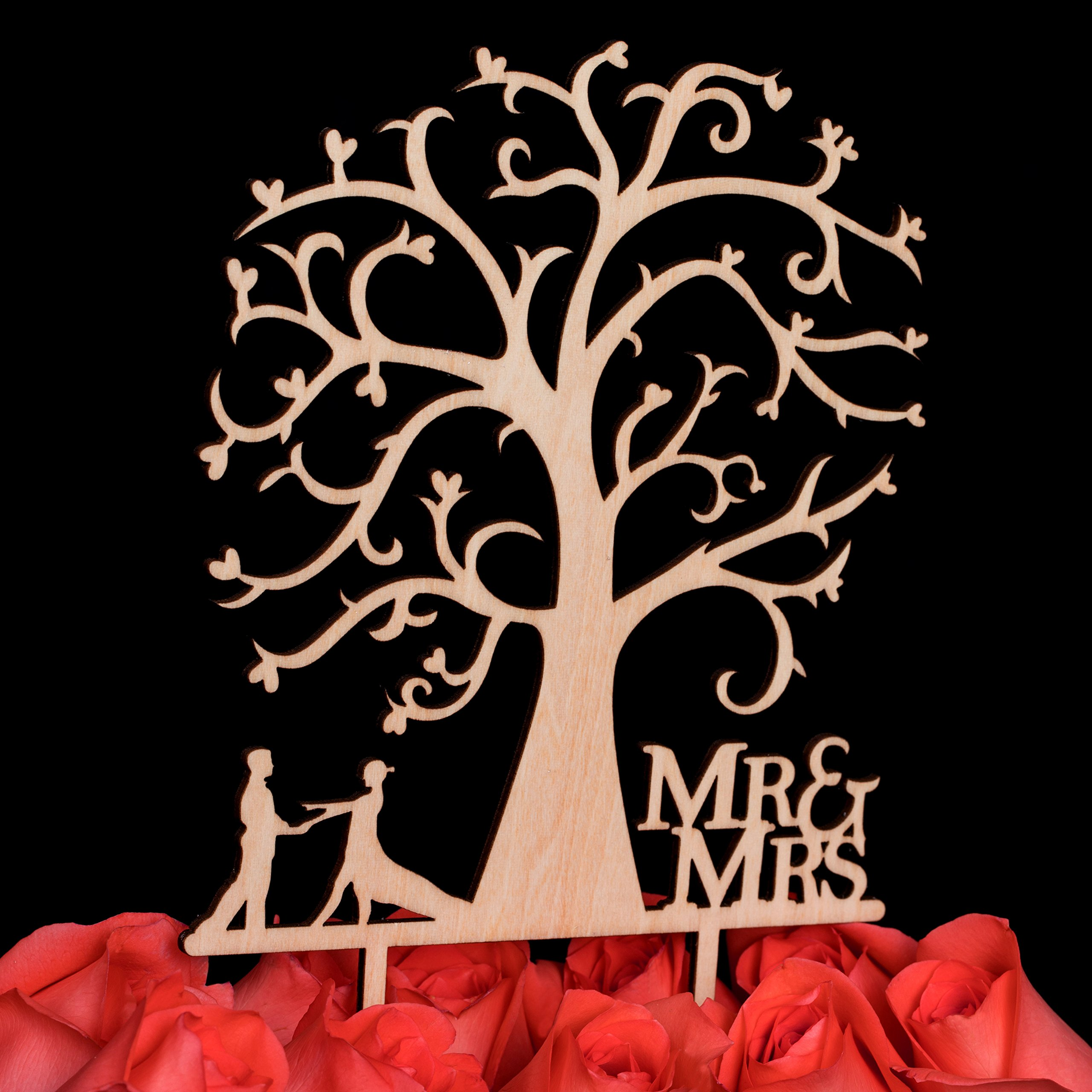 LOVENJOY Gift Box Pack Mr and Mrs Dancing Bride and Groom Tree Silhouette Rustic Wedding Cake Toppers Wood (5-inch) by LOVENJOY (Image #5)