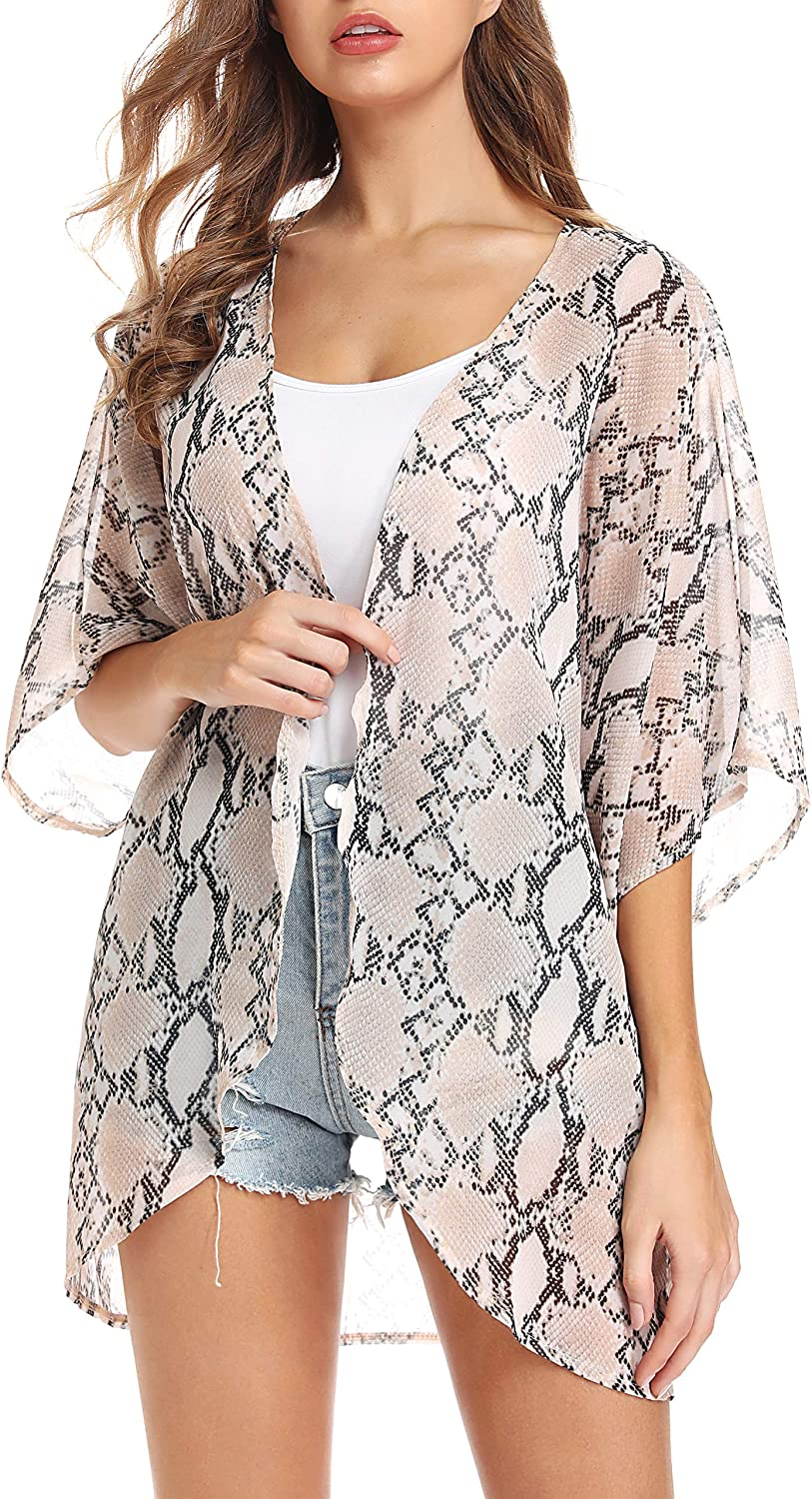 NORA TWIPS Womens Beach Cover up Summer Waterfall Cardigan Chiffon Kimono Tops Capes Sun Protection Floral Boho Blouse