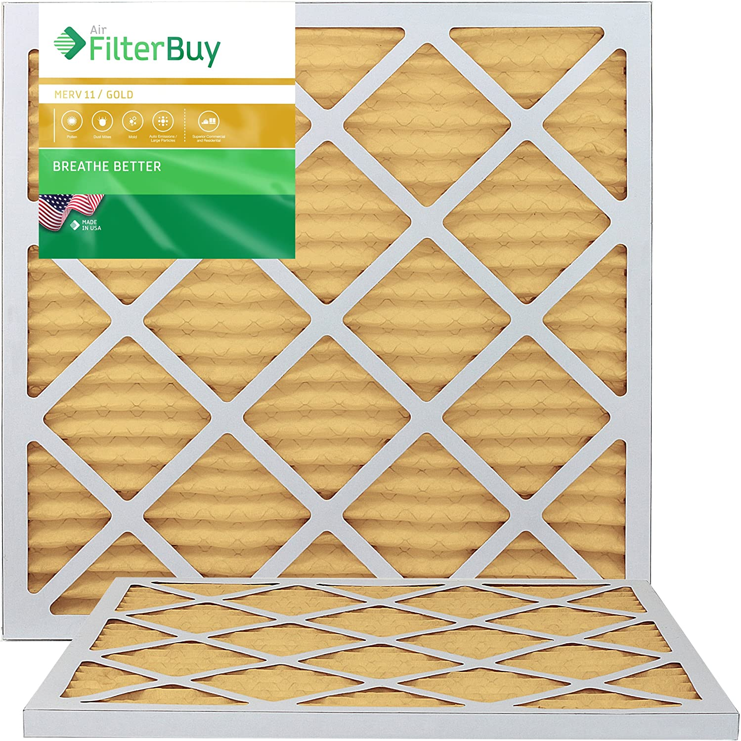 FilterBuy 20x21.5x1 MERV 11 Pleated AC Furnace Air Filter, (Pack of 2 Filters), 20x21.5x1 – Gold