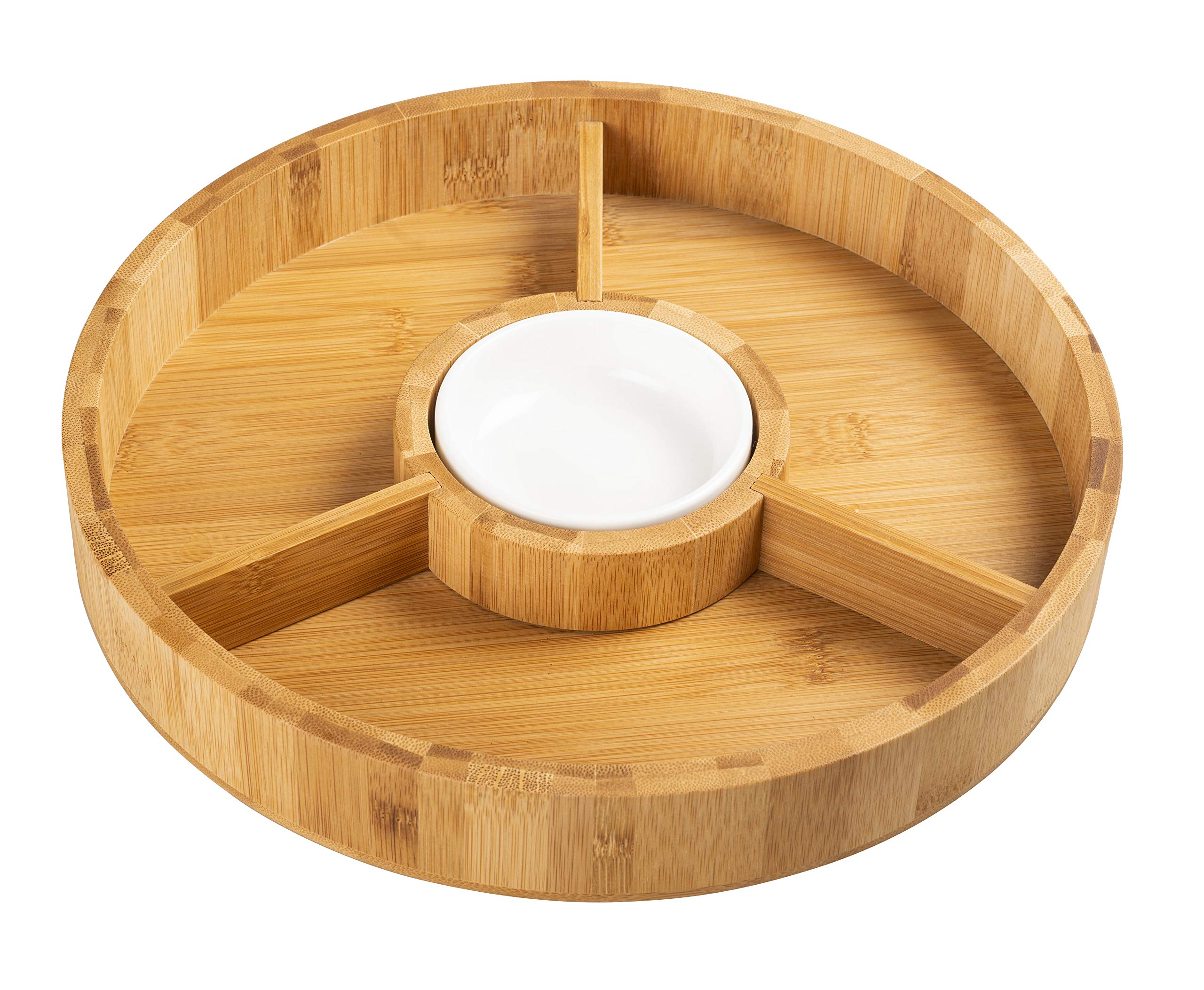 Strova 12 Inch Organic Bamboo Chip and Dip Serving Platter Set w/Ceramic Dip Bowl | Round Chips Bowl Appetizer Server for Event Use | Salsa, Taco Chip, Guacamole, and Snacks Serving Tray