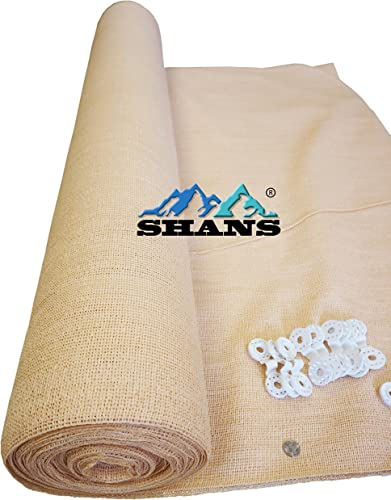 SHANS 70 85 UV Shade Cloth Fabric Wheat with White Clips Free 70 20ft x 50ft