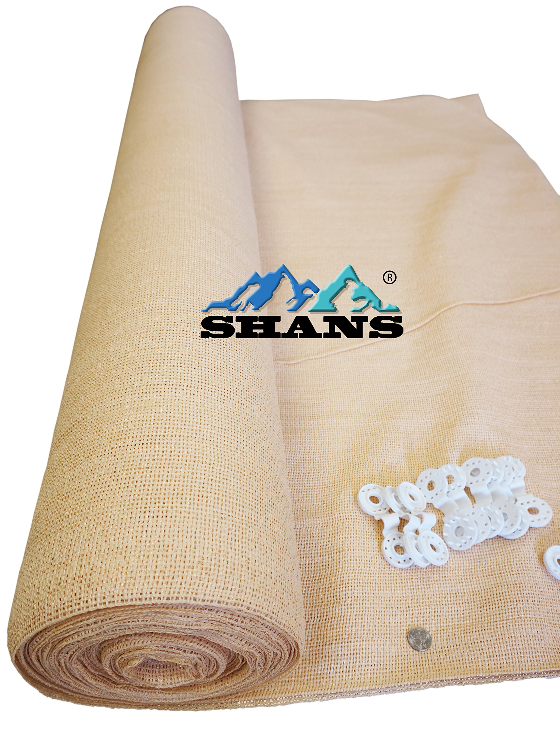 SHANS Wheat Shade Cloth Blocks 70% of UV with Free Clips (20ft x 50ft) by SHANS (Image #1)