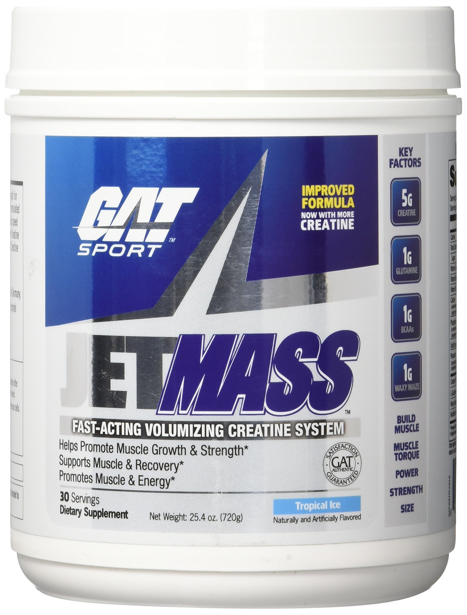 GAT JetMASS Fastest-Acting Muscle Volumizing Creatine System Tropical Ice 30 Servings by GAT Sport