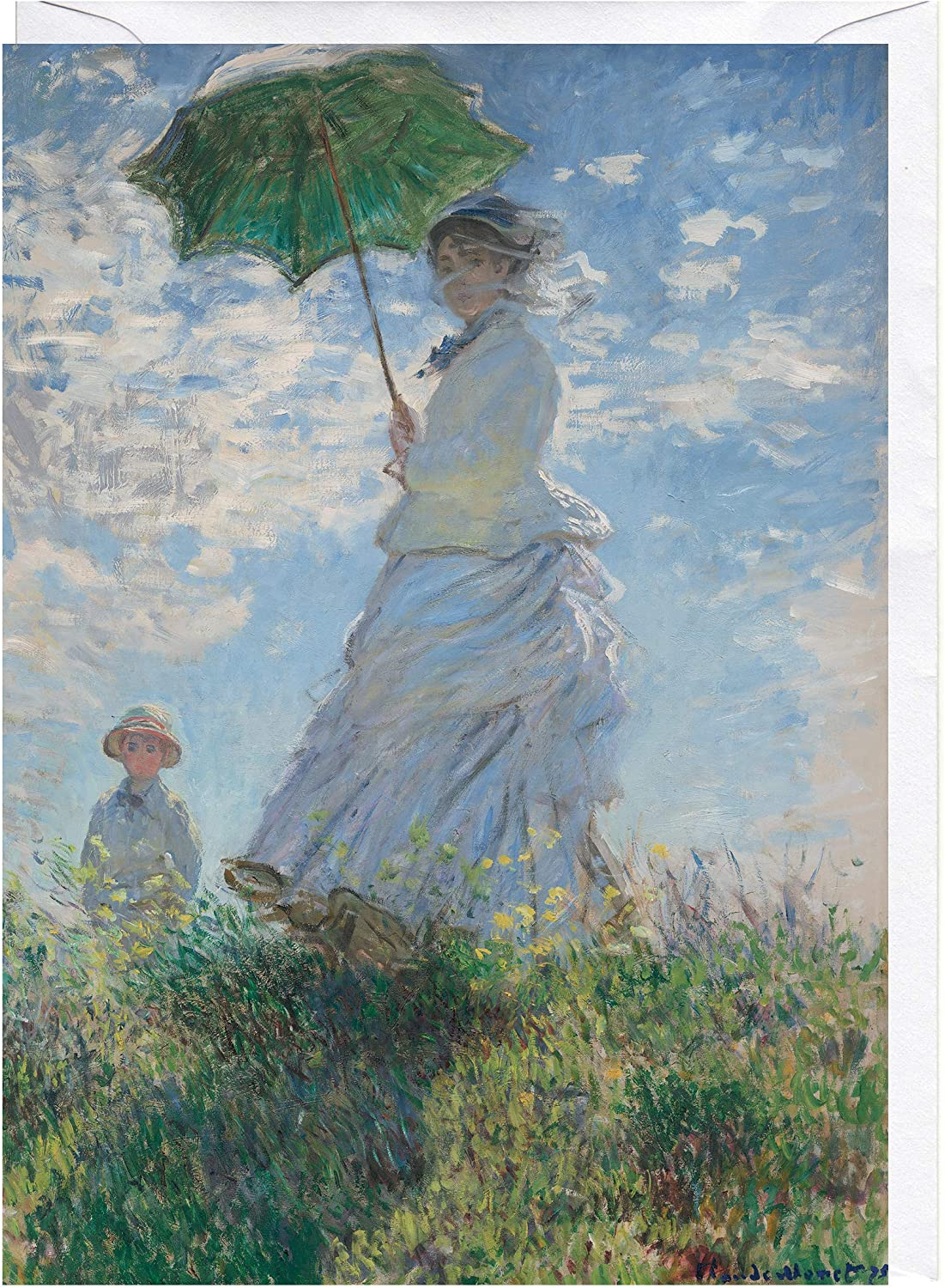 Woman With A Parasol Madame Monet And Her Son Claude Monet Greeting Card Amazon Co Uk Office Products