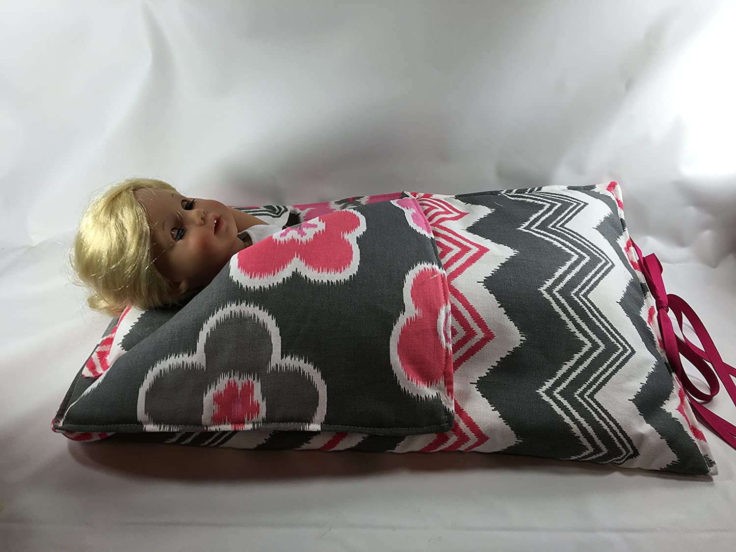Hot Pink Pink and White Print 18in doll sleeping bag