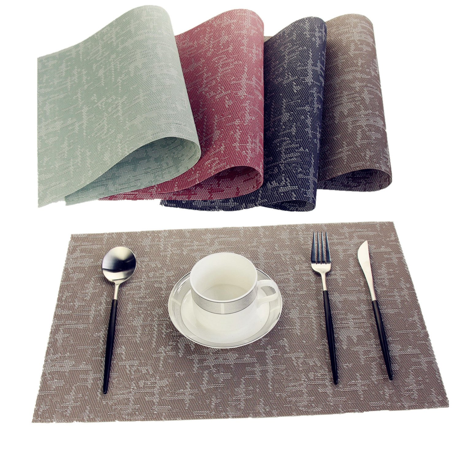 WANGCHAO Placemats, Heat-resistant Placemats Stain Resistant Anti-skid Washable PVC Table Mats Woven Vinyl Placemats (black gold, set of 4) wuyixiangju