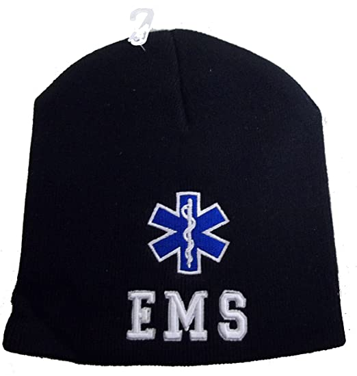 6bd2631e894 CCB 8 quot  EMS Star Of Life Embroidered Winter Beanie Skull Cap Hat  Paramedic (Black
