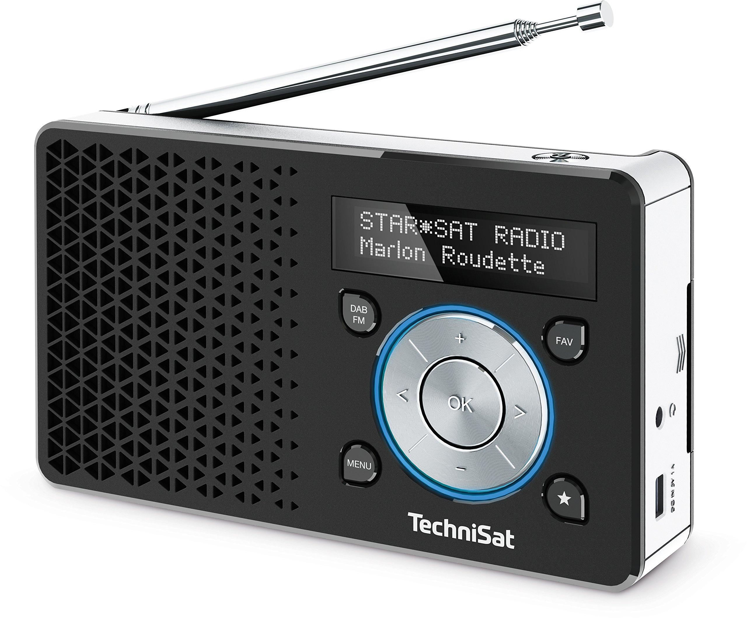 TechniSat Digitradio 1 Digital-Radio Made in Germany (klein, tragbar, für Outdoor geeignet) mit Lautsprecher, OLED-Display, DAB+, UKW, Favoritenspeicher und leistungsstarkem Akku, schwarz/Silber product image