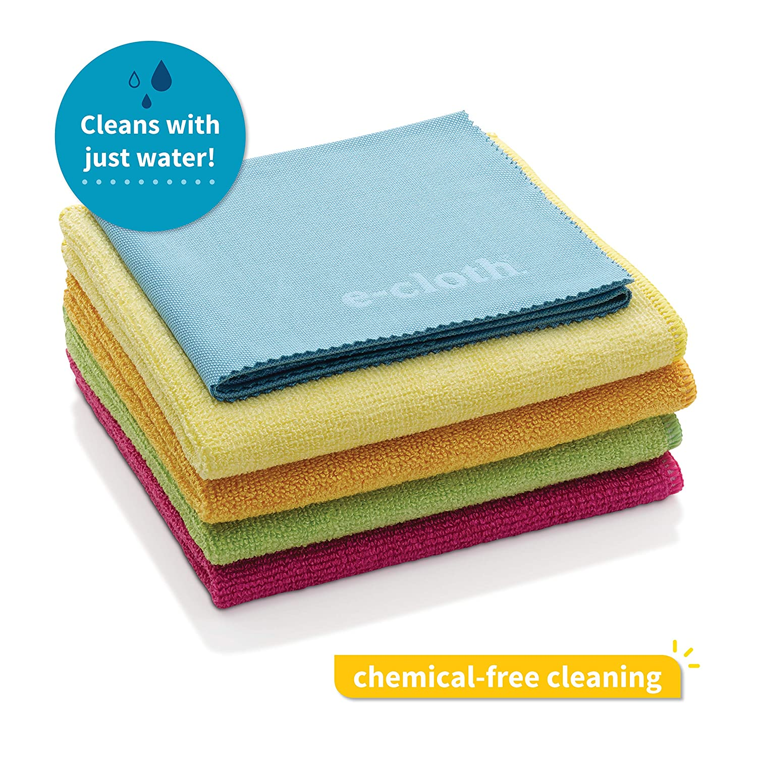 E-Cloth Microfiber Home Cleaning Starter Pack, Chemical-Free Cleaning with Just Water, 5 Cloth Set