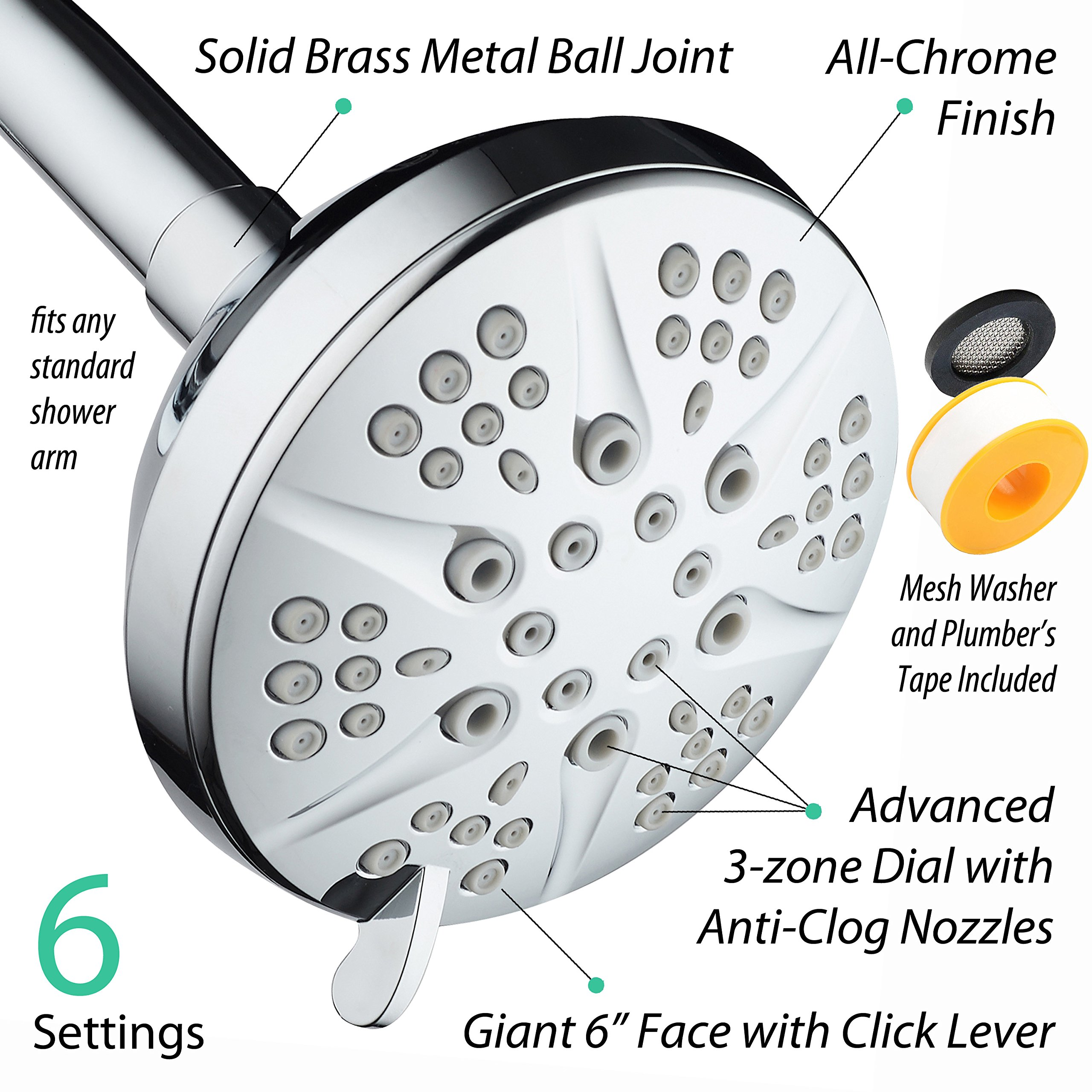 NOTILUS Giant High-Pressure 6-setting 4.3'' Face Modern Luxury Spa Shower Head - Solid Brass Metal Connection Nut, Angle-Adjustable Ball Joint, Anti-Clog Jets, All-Chrome Finish, by HotelSpa (Image #7)