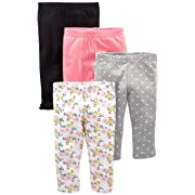 Simple Joys by Carter's Baby Girls' 4-Pack Pant, Navy, Gray Dot, Pink, Floral, 3-6 Months