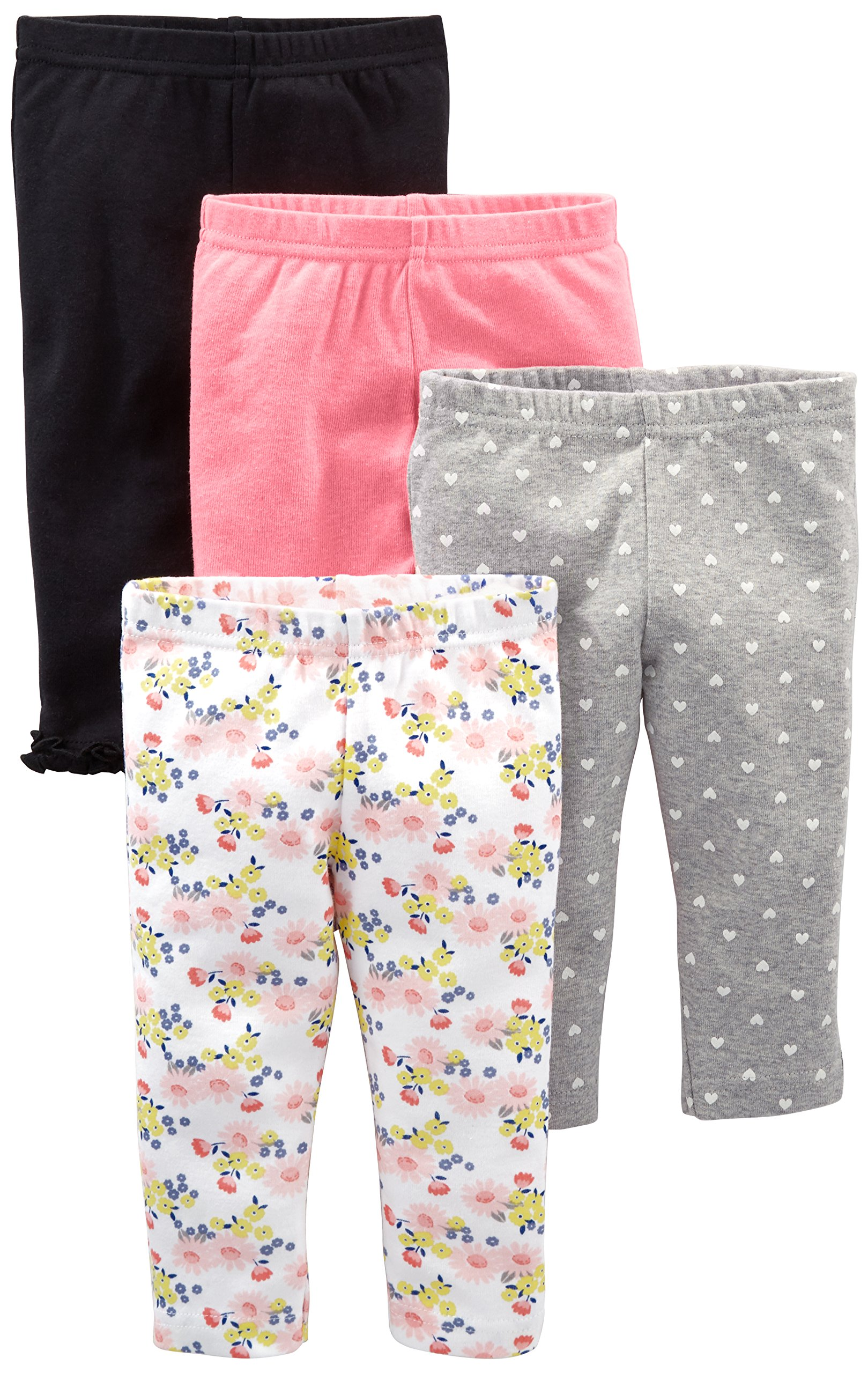 Simple Joys by Carter's Baby Girls' 4-Pack Pant, Navy, Gray Dot, Pink, Floral, Preemie