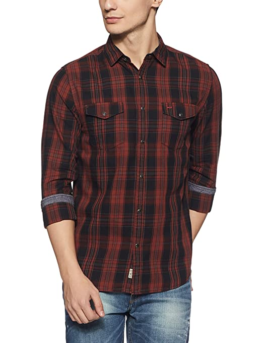Jack & Jones Men's Checkered Slim Fit Cotton Casual Shirt Men's Casual Shirts at amazon
