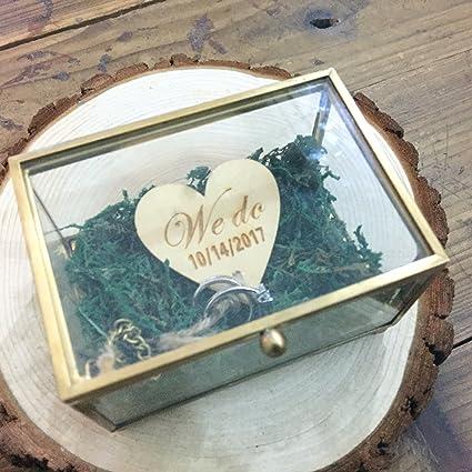 loveyourlife We do Caja de Cristal Rústico Boda Anillo Caja Personalizada Anillo Bearer Box Cristal Anillo