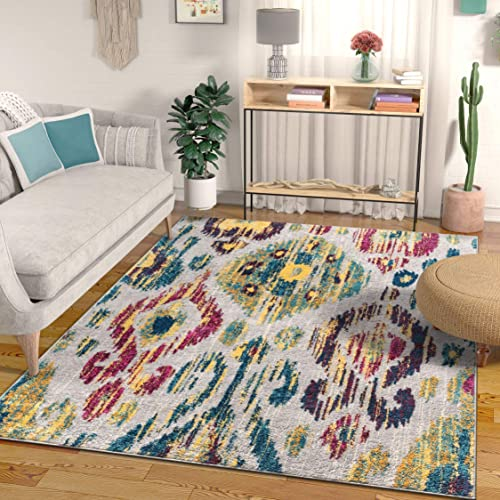Well Woven Amora Bright Multicolor Ikat Area Rug 5×7 5 3 x 7 3