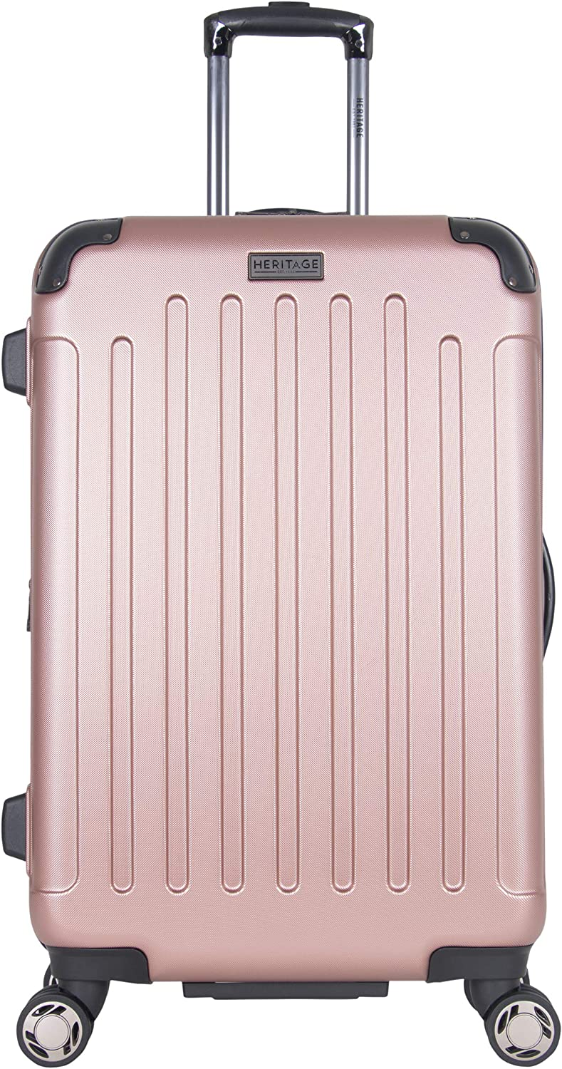 Heritage Travelware Logan Square 25 Lightweight Hardside Expandable 8-Wheel Spinner Checked Suitcase, Metallic Rose Gold