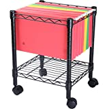 Finnhomy Premium 1-Tier Metal Rolling File Cart for Legal Size Folder, Black