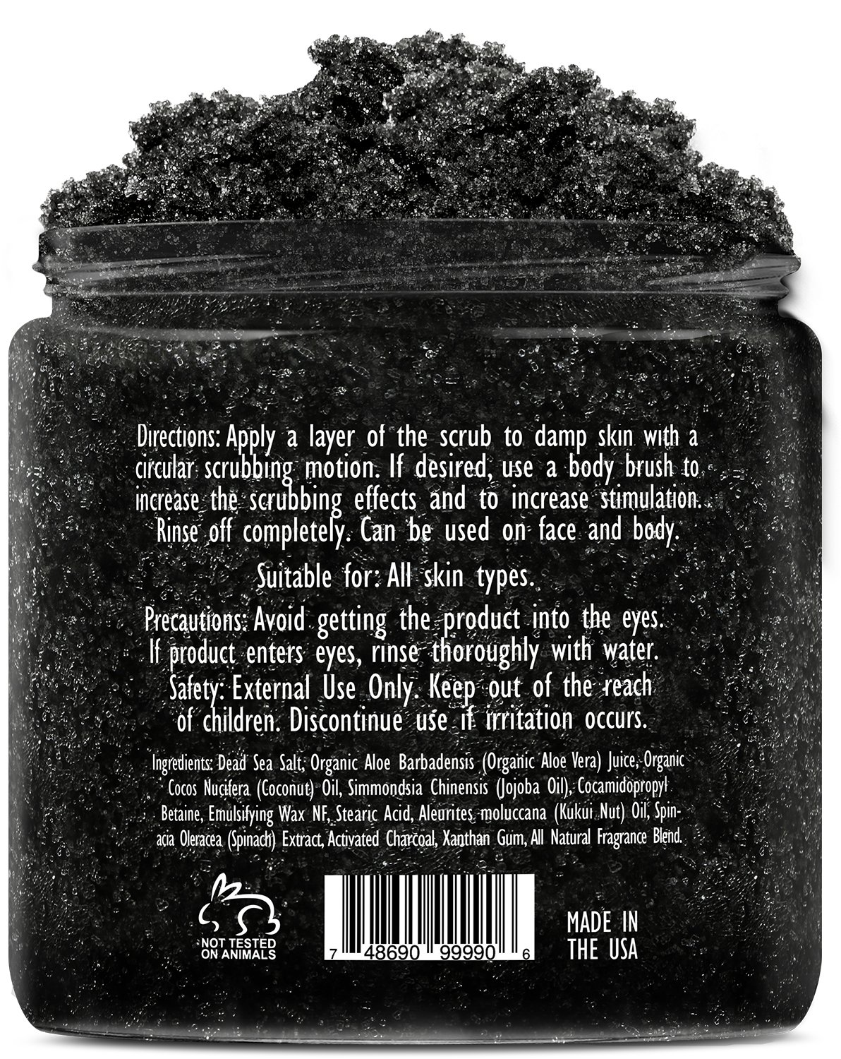 Premium Activated Charcoal Scrub 10 oz - For Deep Cleansing & Exfoliation - Pore Minimizer & Reduces Wrinkles, Acne Scars, Blackhead Remover & Anti Cellulite Treatment - Body Scrub & Facial Cleanser by Brooklyn Botany (Image #3)