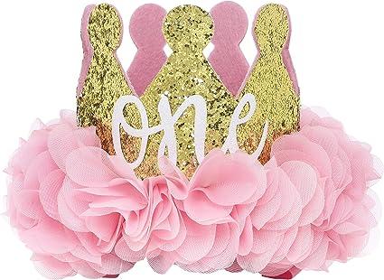 Amazon.com: Corona dorada con brillos y flores para ...