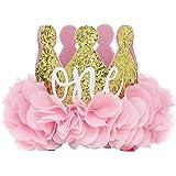 """PoshPeanut First Birthday Hat """"ONE"""" Baby Crown Princess Tiara Sparkle Gold Flower Design"""