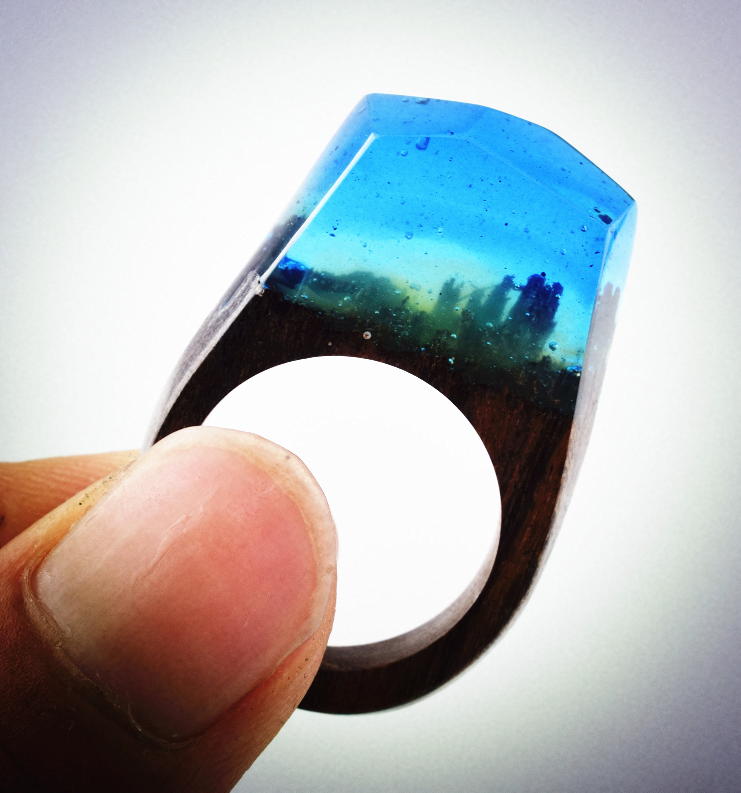 Heyou Love Handmade Wood Resin Ring With Nature Scenery Landscape Inside Jewelry by Heyou Love (Image #4)