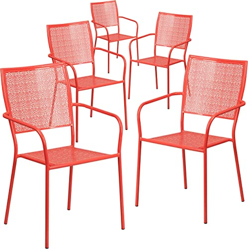 Flash Furniture Commercial Grade 5 Pack Coral Indoor-Outdoor Steel Patio Arm Chair with Square Back
