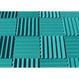 "Soundproofing Acoustic Studio Foam - Teal Color - Wedge Style Panels 12""x12""x2"" Tiles - 4 Pack"