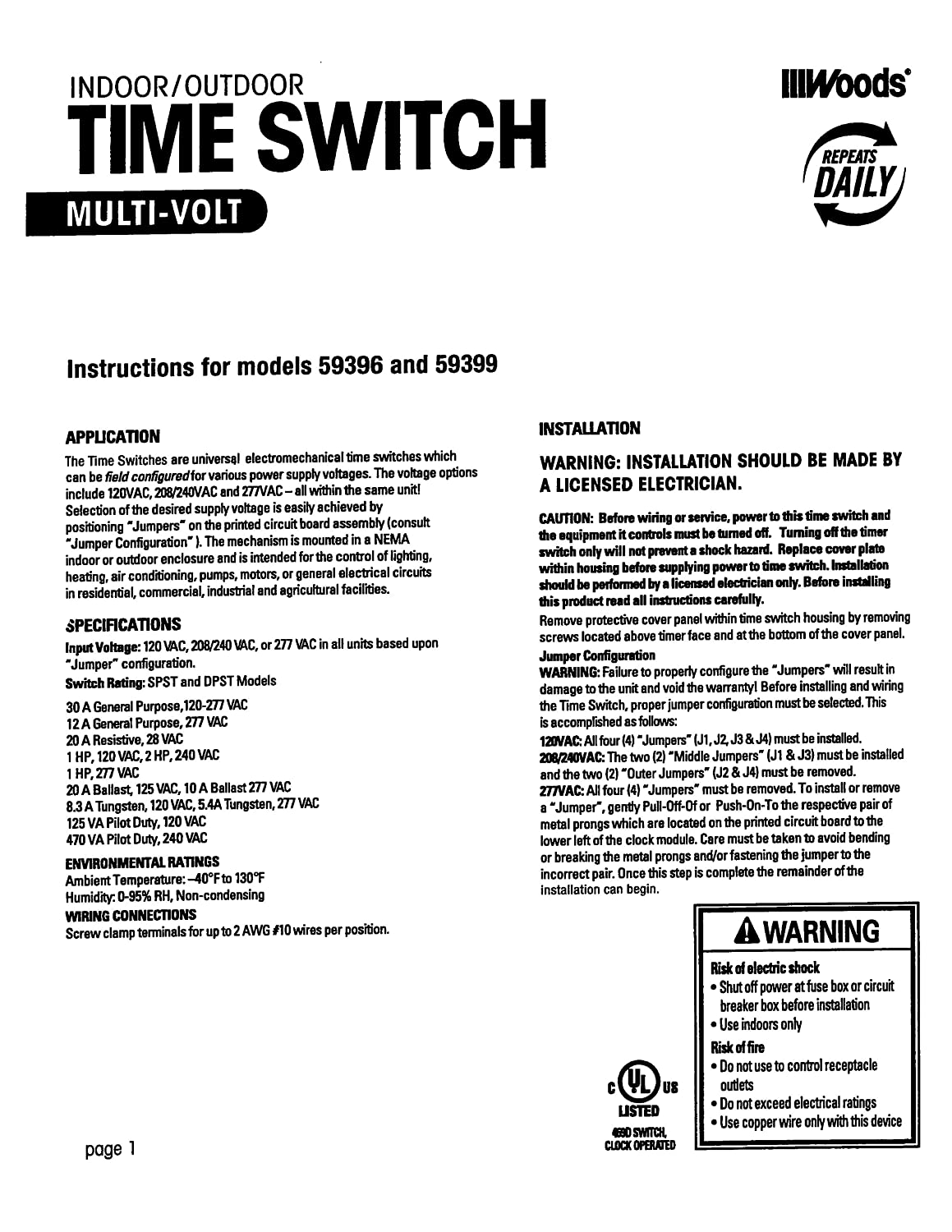 Woods 59401 30-Amp Timer for Heavy Duty Appliances and Outlets ... on 50 amp transfer switch wiring diagram, hubbell twist lock plug wiring diagram, 50 amp breaker wiring diagram,