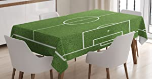"""Ambesonne Teen Room Tablecloth, Soccer Field Grass Motif Stadium Game Match Winner Champion Sports Area, Dining Room Kitchen Rectangular Table Cover, 52"""" X 70"""", Fern Green"""