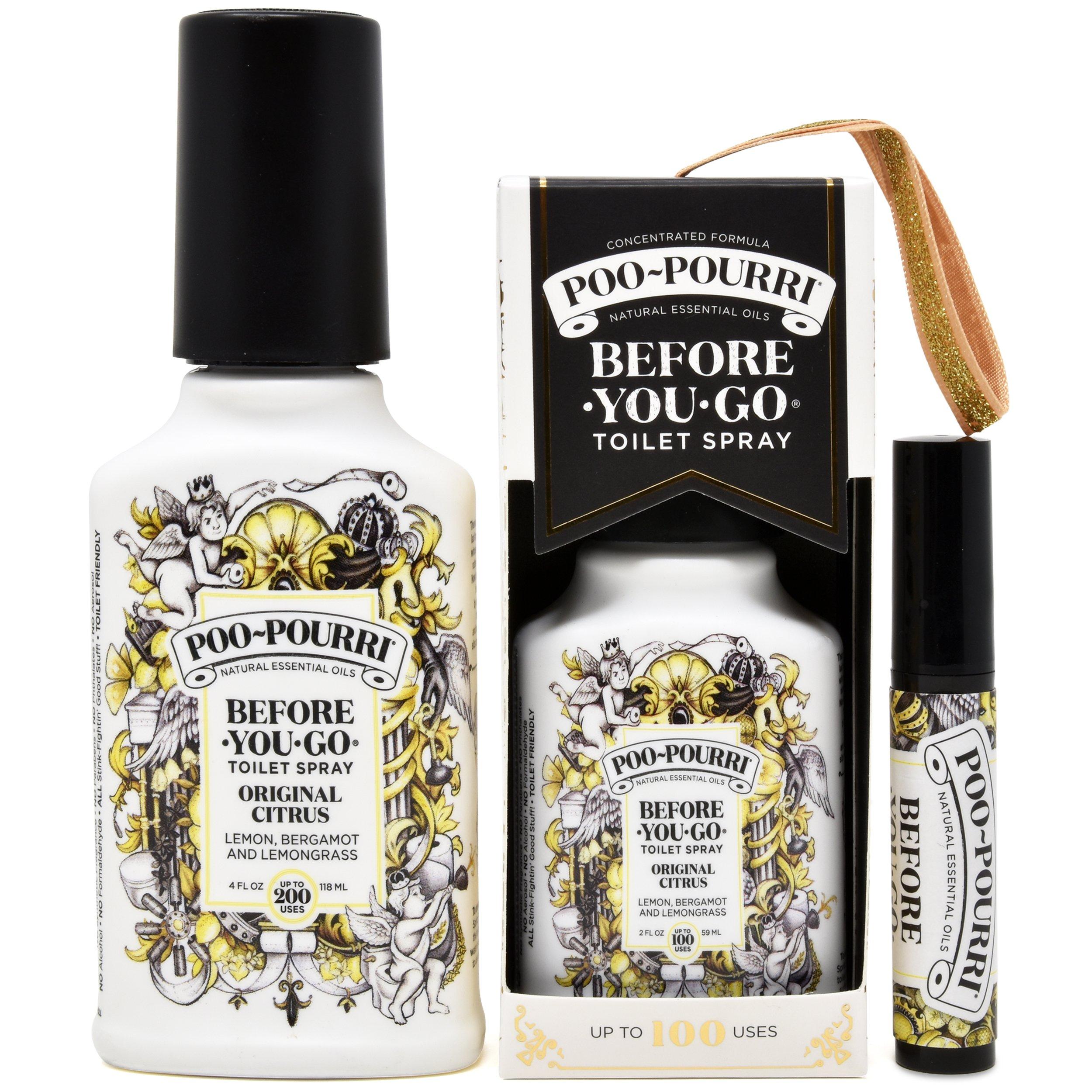 Poo-Pourri Before-You-Go Toilet Spray Set, 3 Piece Bathroom Deodorizer Includes 2-Ounce Original Scent In Gold Ornament Box , 4 -Ounce Original Scent, and Original Tester