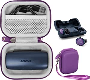 Featured Protective Case for Bose SoundSport Free Truly Wireless Sport Headphones Charger Box, Mesh Pocket for Cable and Other Accessories (Purple)