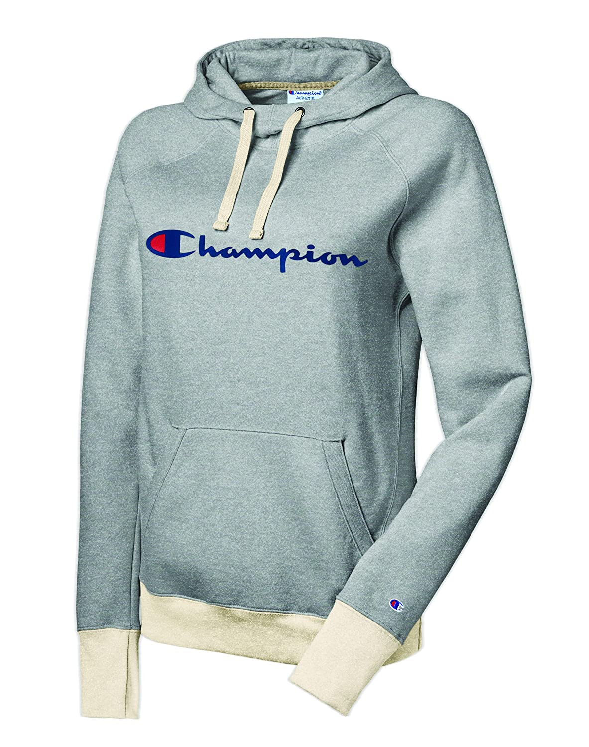 Champion Women's Fleece Pullover Hoodie, Oxford Grey Heather/Oatmeal-Heather, X-Small W0934G
