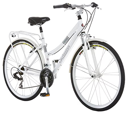 Schwinn Discover 700c Hybrid Bicycle with Full Fenders and Rear Cargo Rack, Men's and Women's Frame Styles