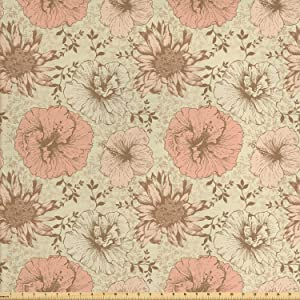 Lunarable Floral Fabric by The Yard, Retro Pattern on Nostalgic Background Soft Color Vintage Nature Design Print, Decorative Fabric for Upholstery and Home Accents, 3 Yards, Brown Cream