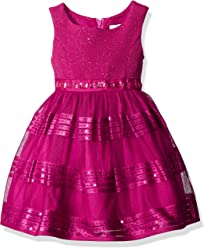 b98487def Sweet Heart Rose Girls' Little Sleeveless Berry Mesh Special Occasion Dress  with Rhinestone Trim