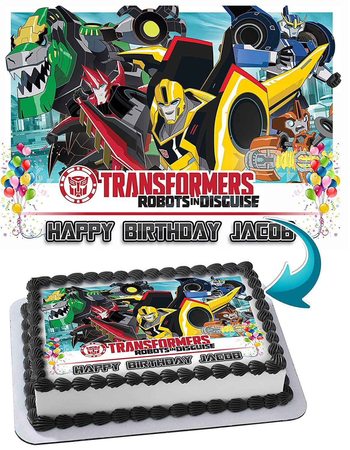 Dinotrux Transformers Robots Dinosaur Edible Image Cake Topper Personalized Icing Sugar Paper A4 Sheet Frosting Photo Amazon Grocery