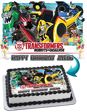 Dinotrux Transformers Robots Dinosaur Edible Image Cake Topper Personalized Icing Sugar Paper A4 Sheet Frosting