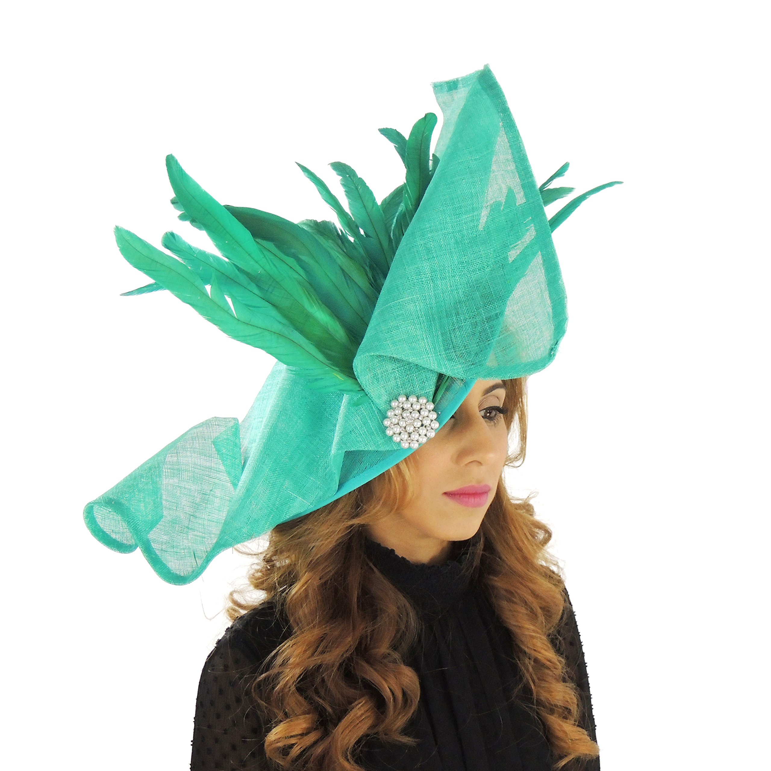 Hats By Cressida Ladies Wedding Races Ascot Derby Fascinator Headband Large Jade Green